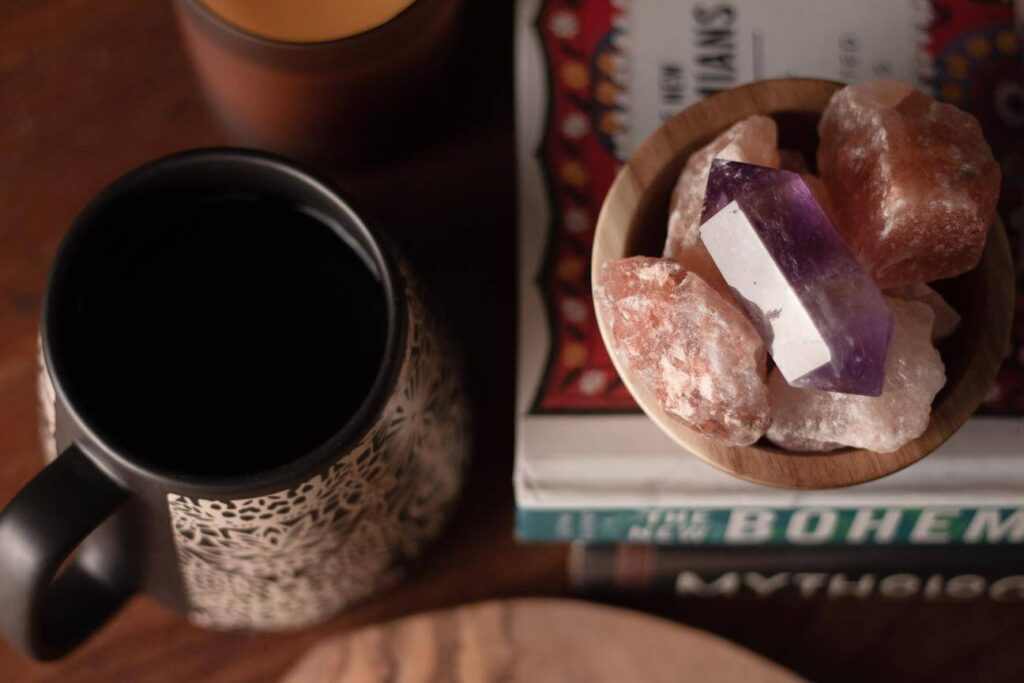 Cup next to crystals