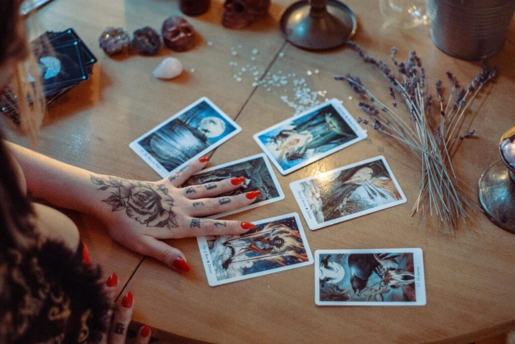 Witch and tarot cards